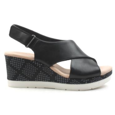 CLARKS CAMMY PEARL WEDGE SANDAL - BLACK D
