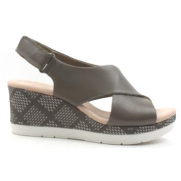 CLARKS CAMMY PEARL WEDGE SANDAL - OLIVE