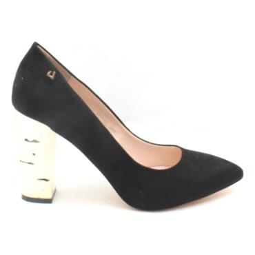 UNA HEALY CHAINS BLOCK HEEL SHOE - BLACK SUEDE