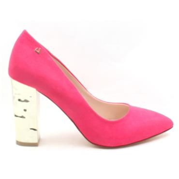 UNA HEALY CHAINS BLOCK HEEL SHOE - PINK