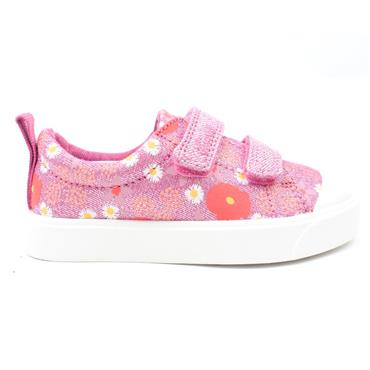 CLARKS CITY BRIGHT T CANVAS SHOE - PINK MULTI F