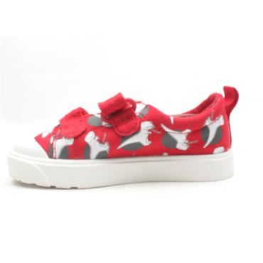 CLARKS CITY BRIGHT T CANVAS SHOE - RED MULTI F