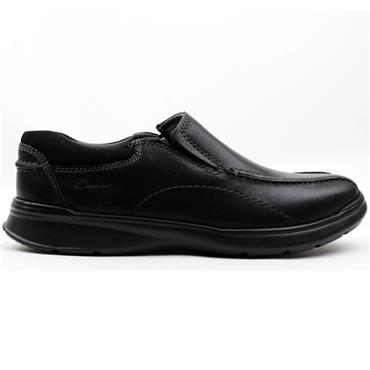 CLARKS COTRELL STEP SLIP ON SHOE - BLACK OILY