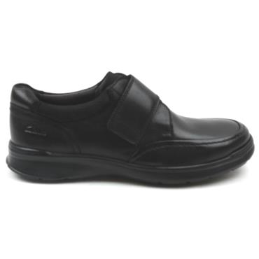 CLARKS COTRELL STRAP VELCRO SHOE - BLACK G