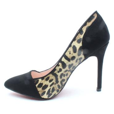 KATE APPLEBY CROSBY COURT SHOE - BLACK/LEOPARD