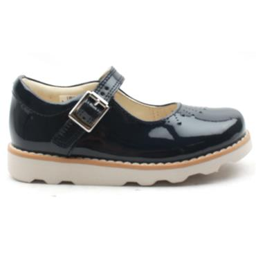 CLARKS CROWN JUMP STRAP SHOE - NAVY PATENT F