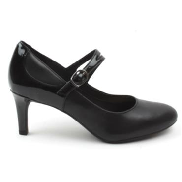 CLARKS DANCER REECE STRAP SHOE - BLACK D