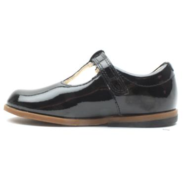 CLARKS DREW SHINE T T BAR SHOE - BLACK PATENT F
