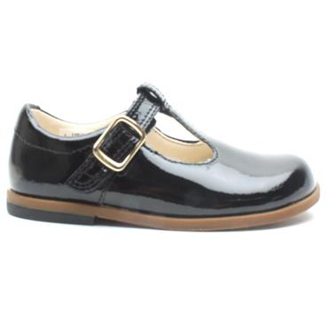 CLARKS DREW SHINE T T BAR SHOE - BLACK PATENT G