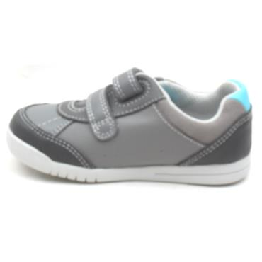 CLARKS EMERY SKY T VELCRO SHOE - GREY MULTI F