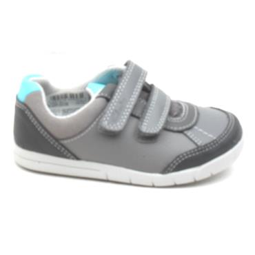 CLARKS EMERY SKY T VELCRO SHOE - GREY MULTI G