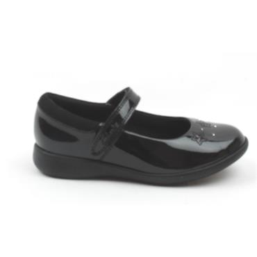 CLARKS ETCH BRIGHT K STRAP SHOE - BLACK PATENT E