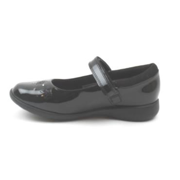 CLARKS ETCH BRIGHT K STRAP SHOE - BLACK PATENT H