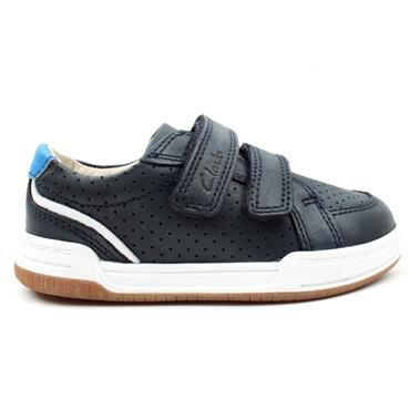 CLARKS FAWN SOLO K VELCRO SHOE - NAVY LEATHER F