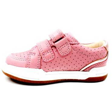 CLARKS FAWN SOLO T VELCRO SHOE - BABY PINK F