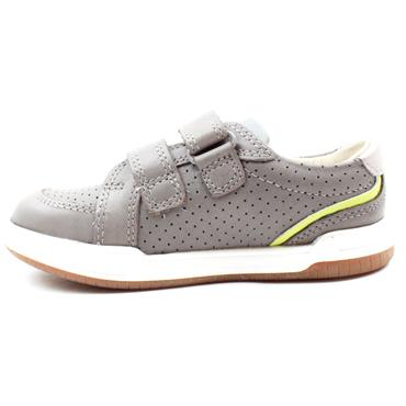 CLARKS FAWN SOLO T VELCRO SHOE - GREY LEATHER F