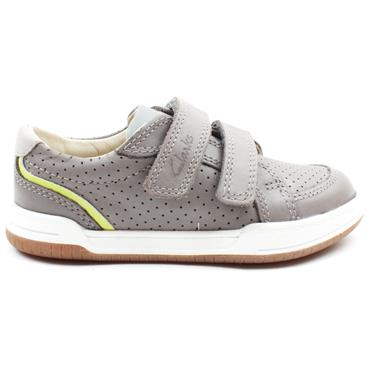 CLARKS FAWN SOLO T VELCRO SHOE - GREY LEATHER G