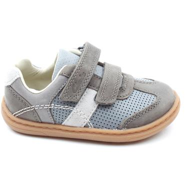 CLARKS FLASH METRA T VELCRO SHOE - GREY LEATHER F