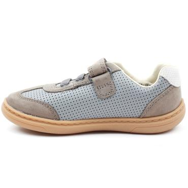 CLARKS FLASH STEP T VELCRO SHOE - GREY LEATHER G