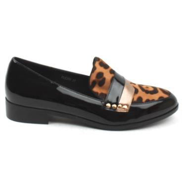 LUNAR FLC230CLANCY LOAFER - BLACK/LEOPARD