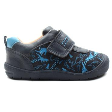 STARTRITE FOOTPRINT STRAP SHOE - NAVY MULTI F