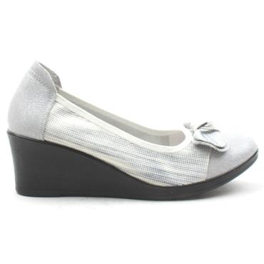 INEA GALAGO WEDGE BOW SHOE - GREY  WHITE