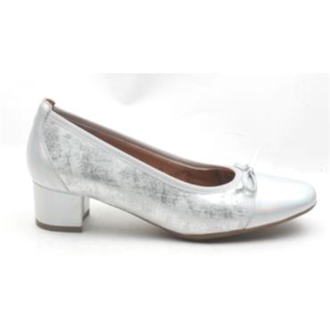 SOFTMODE GEMMA BOW LOW HEEL SHOE - SILVER
