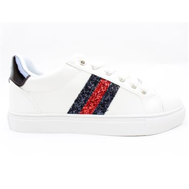 DRILLEY GLITTER LACED SHOE - WHITENAVY