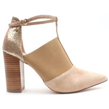 AMY HUBERMAN HALF MAGIC SHOE - BEIGE