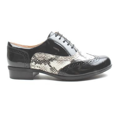 CLARKS HAMBLEOAK LACED BROGUE - BLACK SNAKE