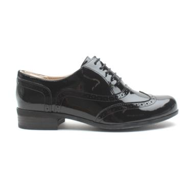 CLARKS HAMBLEOAK LACED BROGUE - BLACK PATENT D