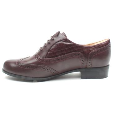 CLARKS HAMBLEOAK LACED BROGUE - BURGUNDY