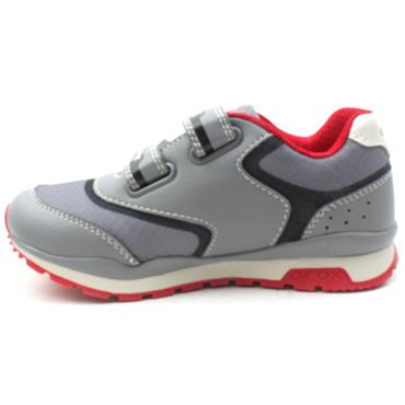 GEOX J9215A PAVEL JUNIOR RUNNER - GREY RED