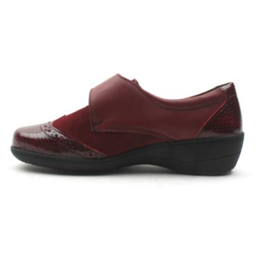 SOFTMODE VELCRO JO EE FIT - BURGUNDY SUEDE