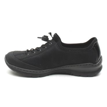 RIEKER L3263 ZIP SHOE - BLACK/BLACK