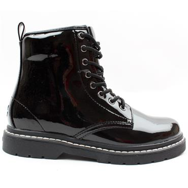LELLI KELLY LK7500 LACED BOOT - BLACK PATENT