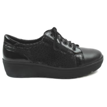 SOFTMODE MARIE WEDGE LACED SHOE - BLACK/BLACK