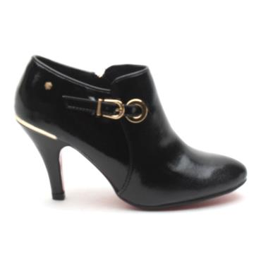 KATE APPLEBY MILE END LOW ANKLE BOOT - BLACK PATENT