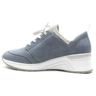 RIEKER N4373 LACED WEDGE SHOE - DENIM
