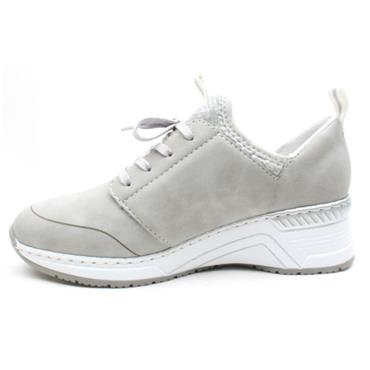 RIEKER N4373 LACED WEDGE SHOE - GREY