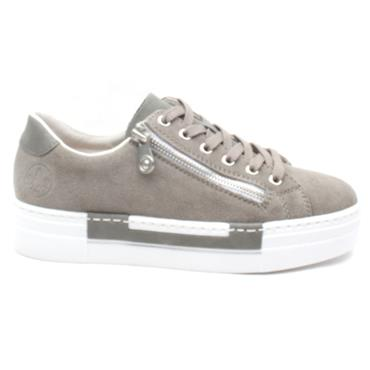 RIEKER N4921 LACED SHOE - TAUPE