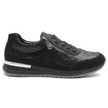 RIEKER N7031 LACED SHOE - BLACK/BLACK