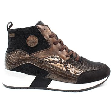 RIEKER N7610 LACED ANKLE BOOT - BLACK MULTI