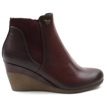 SUSST NADINE0 WEDGE ANKLE BOOT - BURGUNDY