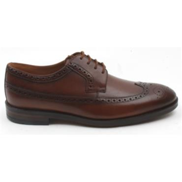 CLARKS OLIVER WING BROGUE SHOE - DARK TAN G