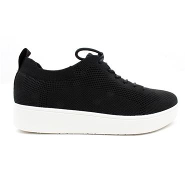 FITFLOP RALLY TONAL LACED SHOE - BLACK/WHITE