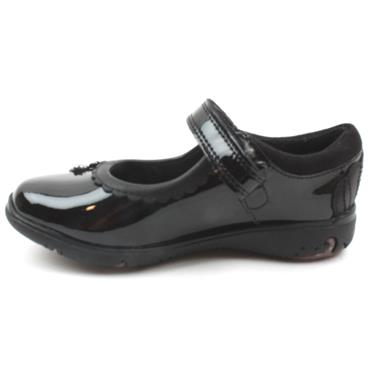 CLARKS SEA SHIMMER JUNIOR SHOE - BLACK PATENT E