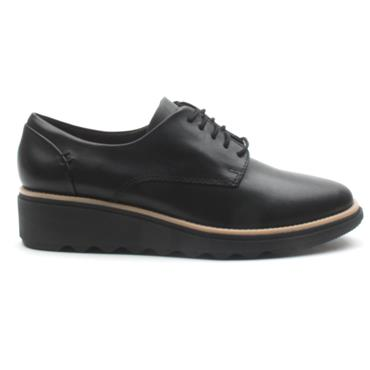 CLARKS SHARON NOEL LACED SHOE - BLACK D