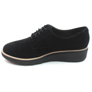 CLARKS SHARON NOEL LACED SHOE - BLACK SUEDE D