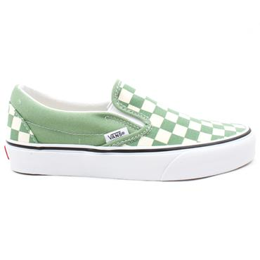 VANS U CLASSIC SLIP ON CANVAS SHOE - GREEN WHITE